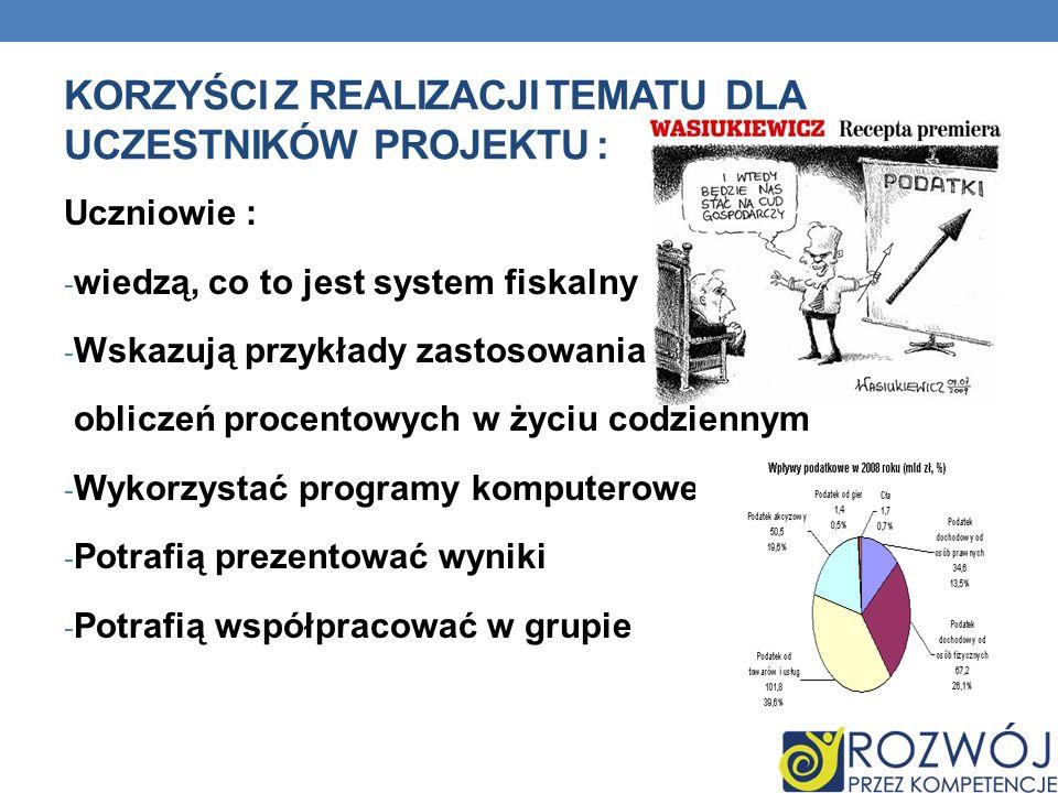 KORZYŚCI Z REALIZACJI TEMATU DLA UCZESTNIKÓW PROJEKTU : Uczniowie : - wiedzą, co to jest system fiskalny - Wskazują przykłady zastosowania obliczeń pr
