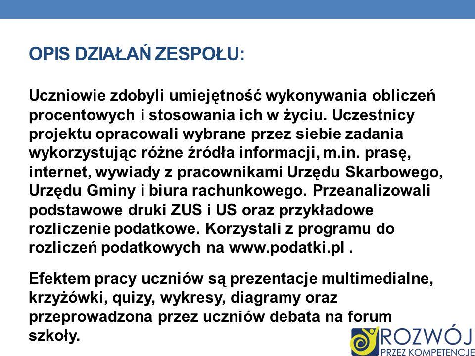 STRONY INTERNETOWE, Z KTÓRYCH KORZYSTALIŚMY : Podczas pracy na tematem projektowym korzystaliśmy z następujących stron internetowych: - www.nbportal.pl - www.gmina-hajnowka.pl www.nbportal.plwww.gmina-hajnowka.pl - www.podatki.pl - www.hajnowka.zus.plwww.podatki.plwww.hajnowka.zus.pl - www.ceo.org.plwww.ceo.org.pl - www.mf.gov.plwww.mf.gov.pl - www.wrotapodlasia.plwww.wrotapodlasia.pl - www.us.hajnowka.pl www.us.hajnowka.pl