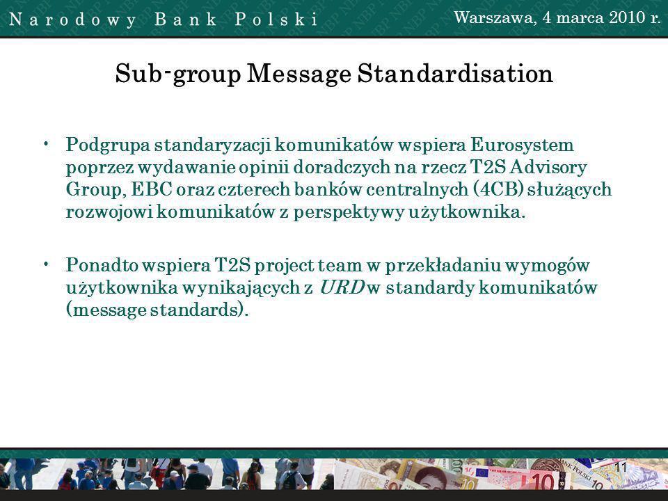 11 Sub-group Message Standardisation Podgrupa standaryzacji komunikatów wspiera Eurosystem poprzez wydawanie opinii doradczych na rzecz T2S Advisory Group, EBC oraz czterech banków centralnych (4CB) służących rozwojowi komunikatów z perspektywy użytkownika.