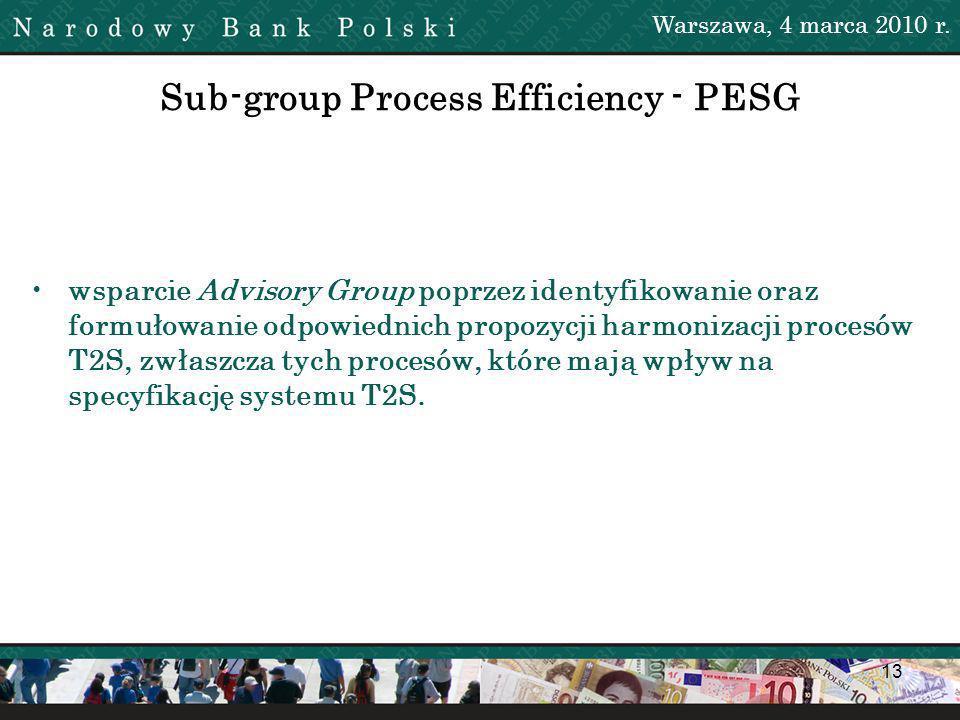 13 Sub-group Process Efficiency - PESG wsparcie Advisory Group poprzez identyfikowanie oraz formułowanie odpowiednich propozycji harmonizacji procesów T2S, zwłaszcza tych procesów, które mają wpływ na specyfikację systemu T2S.