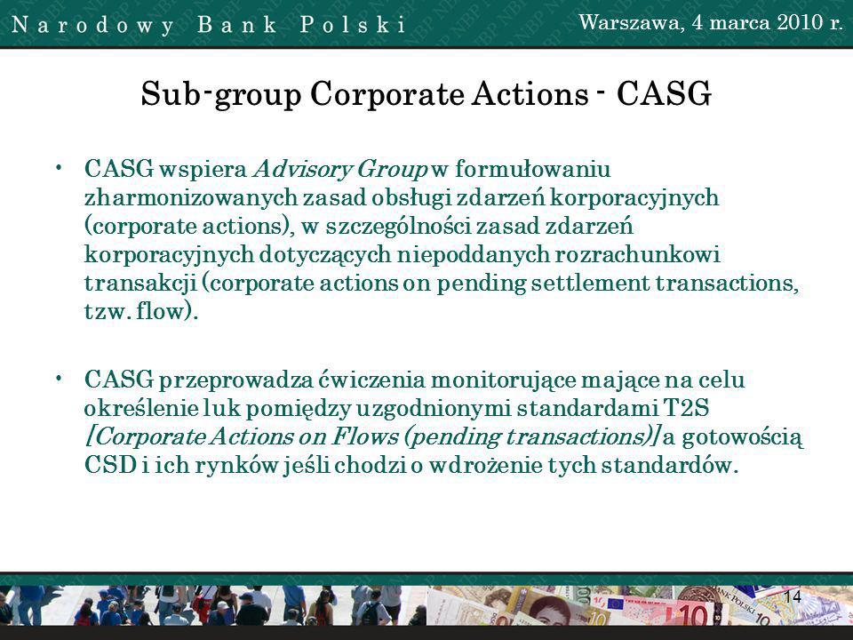 14 Sub-group Corporate Actions - CASG CASG wspiera Advisory Group w formułowaniu zharmonizowanych zasad obsługi zdarzeń korporacyjnych (corporate actions), w szczególności zasad zdarzeń korporacyjnych dotyczących niepoddanych rozrachunkowi transakcji (corporate actions on pending settlement transactions, tzw.