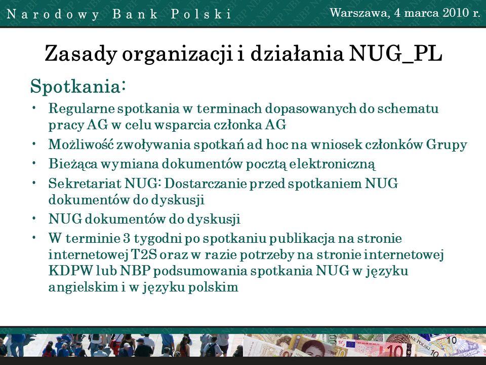 10 Zasady organizacji i działania NUG_PL Warszawa, 4 marca 2010 r. Spotkania: Regularne spotkania w terminach dopasowanych do schematu pracy AG w celu
