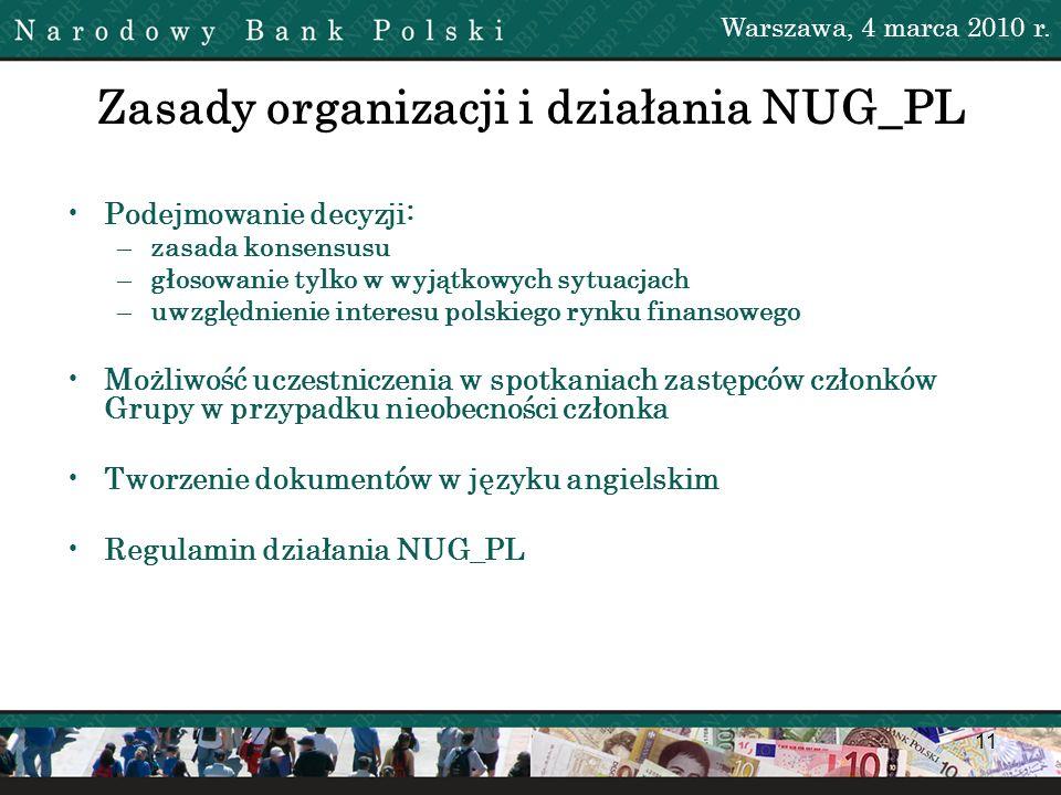 11 Zasady organizacji i działania NUG_PL Warszawa, 4 marca 2010 r. Podejmowanie decyzji: –zasada konsensusu –głosowanie tylko w wyjątkowych sytuacjach
