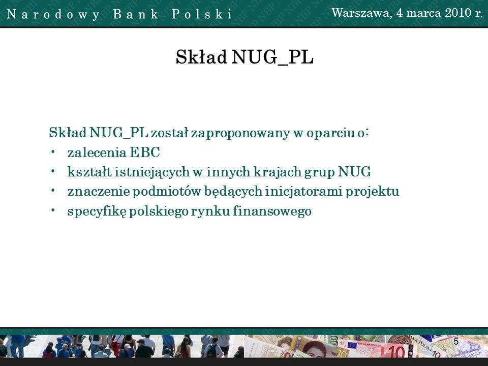 5 Warszawa, 4 marca 2010 r. Skład NUG_PL został zaproponowany w oparciu o: zalecenia EBC kształt istniejących w innych krajach grup NUG znaczenie podm