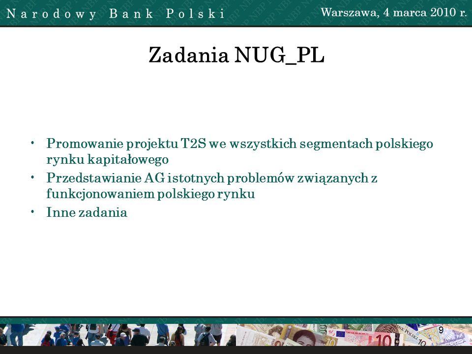 9 Zadania NUG_PL Promowanie projektu T2S we wszystkich segmentach polskiego rynku kapitałowego Przedstawianie AG istotnych problemów związanych z funk