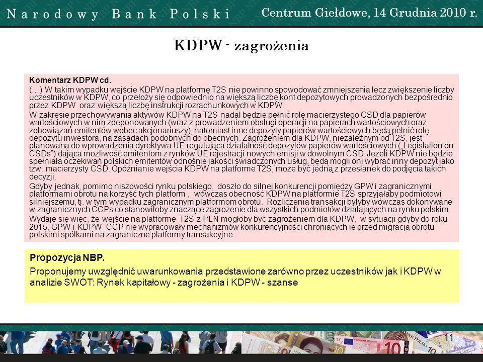 12 KDPW - zagrożenia Uwagi Uczestników Pogorszenie wyniku finansowego KDPW.