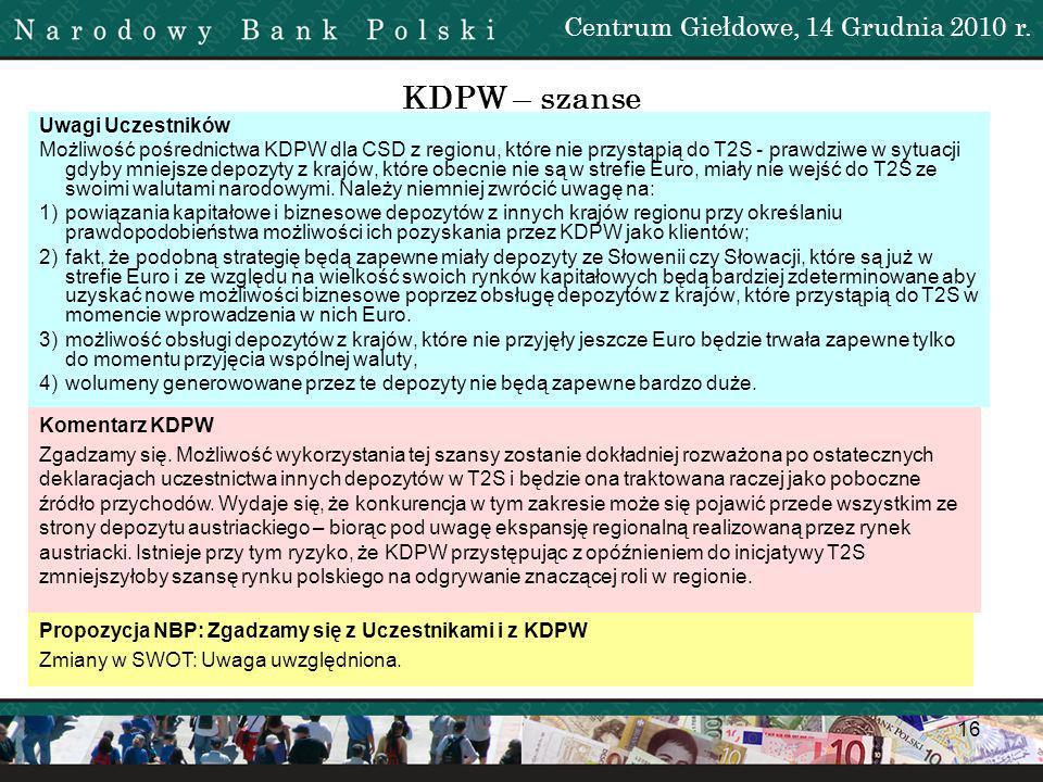 17 KDPW – szanse Uwagi Uczestników Możliwość rozrachunku przez KDPW transakcji transgranicznych inwestorów polskich zawieranych na rynkach zagranicznych – Należy zwrócić uwagę, iż co do zasady taka możliwość istnieje już w chwili obecnej.