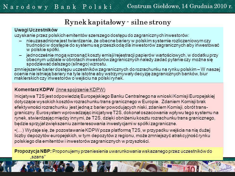 20 Propozycja NBP: Zgadzamy się z opinią Uczestników i KDPW Punkt usunięty z analizy SWOT: Uzyskanie przez polskich inwestorów większych możliwości dywersyfikacji portfeli instrumentów finansowych.