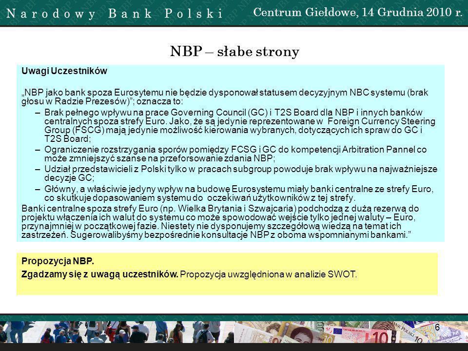 7 NBP – słabe strony Uwagi Uczestników liquidity transfer - zwiększy się zapotrzebowanie na PLN w celu przeprowadzania rozliczeń, co może doprowadzić do spadku płynności na rynku międzybankowym.