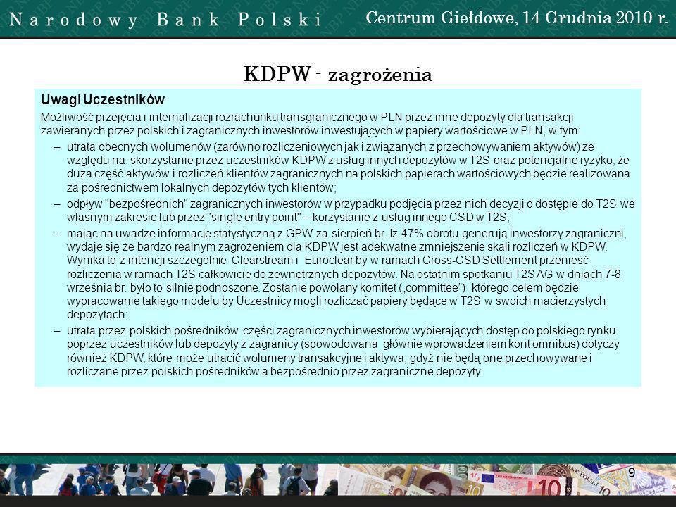 10 KDPW - zagrożenia Komentarz KDPW Zgadzamy się częściowo.