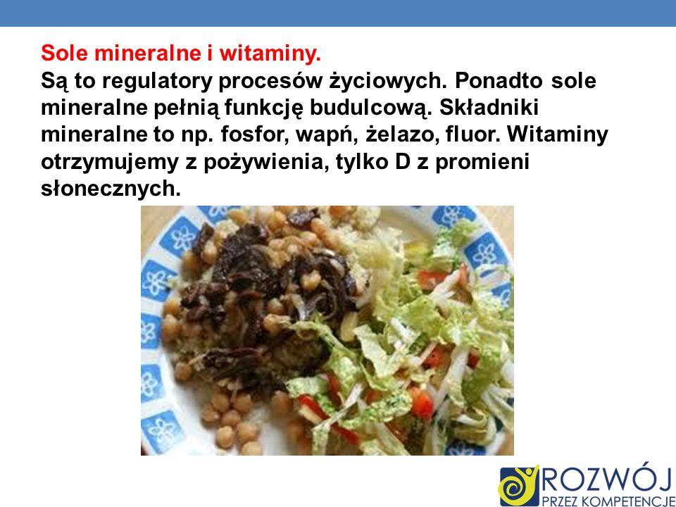 Sole mineralne i witaminy. Są to regulatory procesów życiowych. Ponadto sole mineralne pełnią funkcję budulcową. Składniki mineralne to np. fosfor, wa