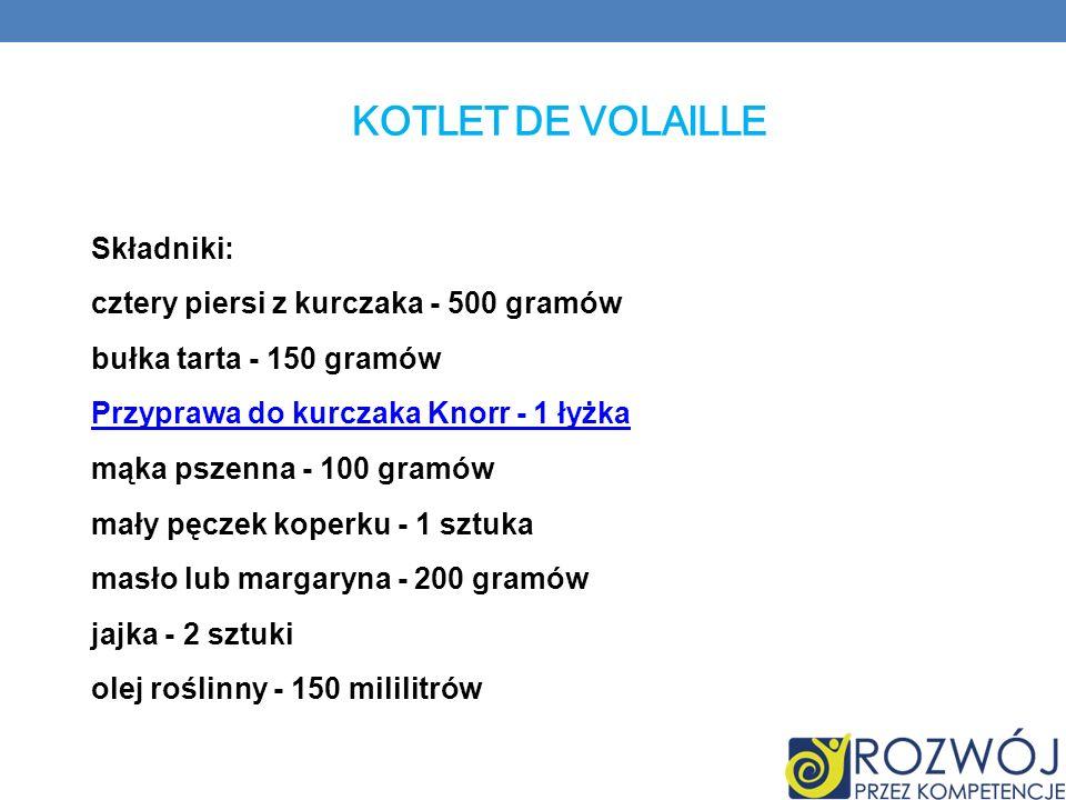KOTLET DE VOLAILLE Składniki: cztery piersi z kurczaka - 500 gramów bułka tarta - 150 gramów Przyprawa do kurczaka Knorr - 1 łyżka mąka pszenna - 100