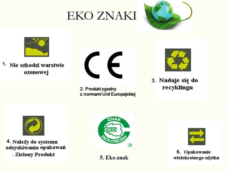 EKO ZNAKI 2. Produkt zgodny z normami Unii Europejskiej 5. Eko znak 1. 3. 4. 6.