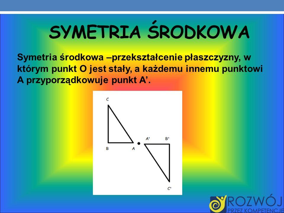 SYMETRIA ŚRODKOWA Symetria środkowa –przekształcenie płaszczyzny, w którym punkt O jest stały, a każdemu innemu punktowi A przyporządkowuje punkt A.