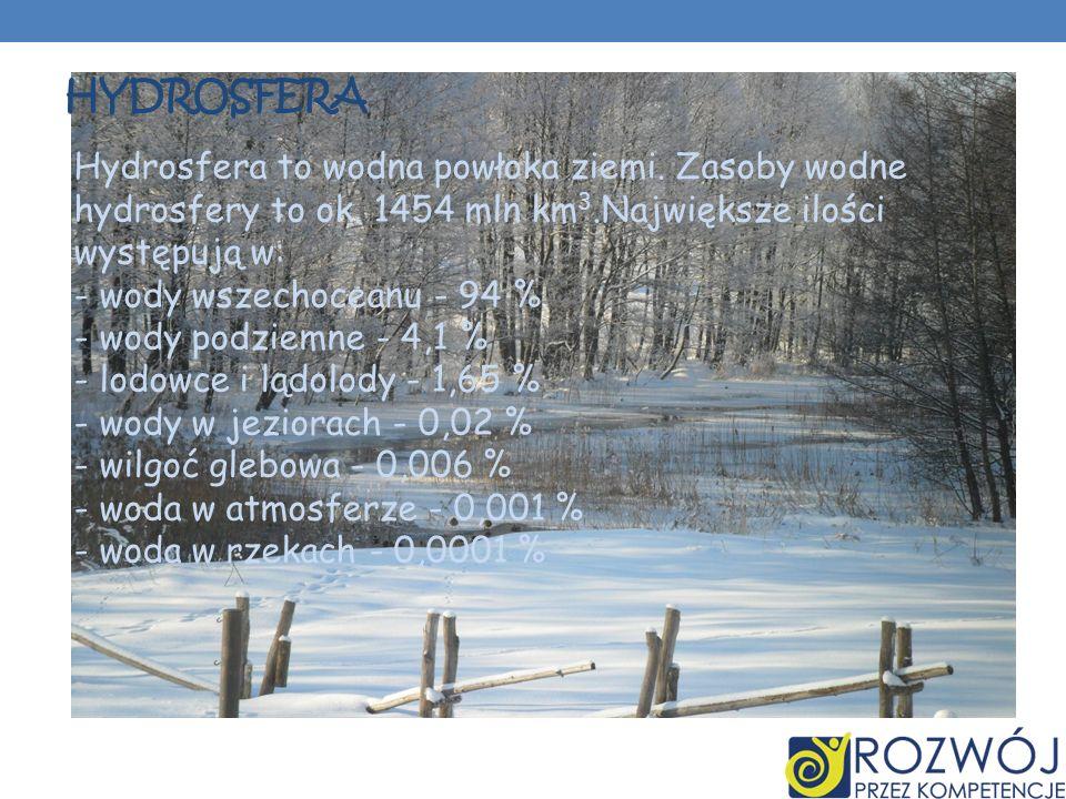 HYDROSFERA Hydrosfera to wodna powłoka ziemi. Zasoby wodne hydrosfery to ok. 1454 mln km 3.Największe ilości występują w: - wody wszechoceanu - 94 % -