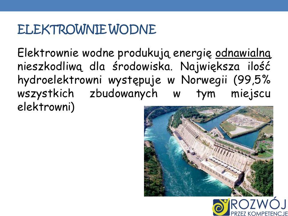 ELEKTROWNIE WODNE Elektrownie wodne produkują energię odnawialną nieszkodliwą dla środowiska. Największa ilość hydroelektrowni występuje w Norwegii (9