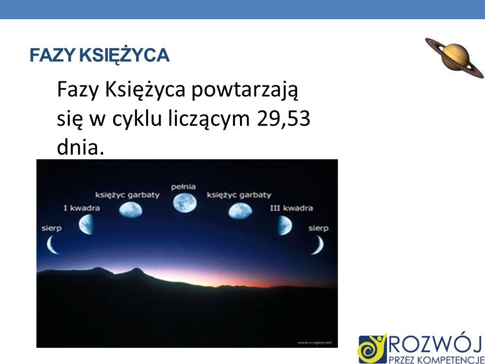 FAZY KSIĘŻYCA Fazy Księżyca powtarzają się w cyklu liczącym 29,53 dnia.