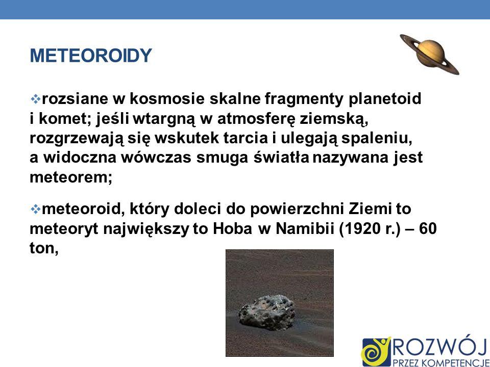 METEOROIDY rozsiane w kosmosie skalne fragmenty planetoid i komet; jeśli wtargną w atmosferę ziemską, rozgrzewają się wskutek tarcia i ulegają spaleni