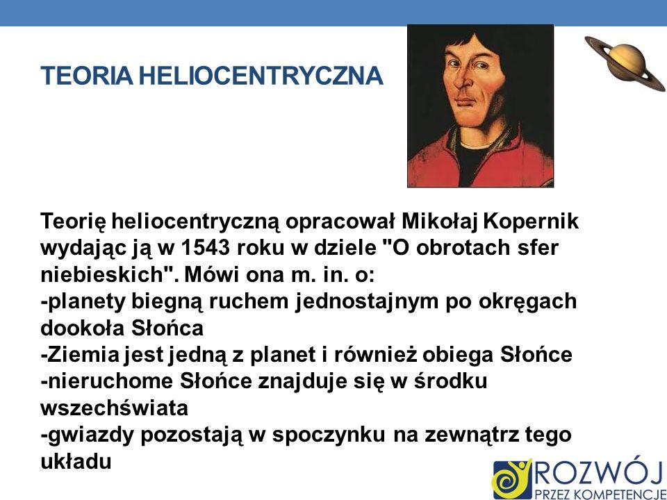 TEORIA HELIOCENTRYCZNA Teorię heliocentryczną opracował Mikołaj Kopernik wydając ją w 1543 roku w dziele