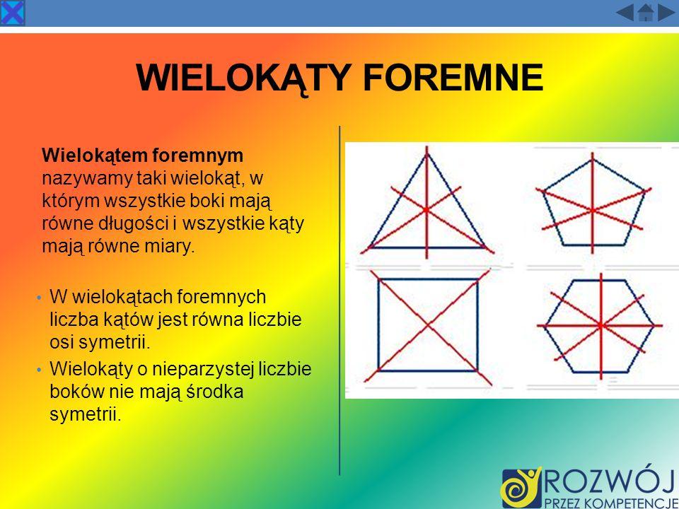 WIELOKĄTY FOREMNE Wielokątem foremnym nazywamy taki wielokąt, w którym wszystkie boki mają równe długości i wszystkie kąty mają równe miary. W wieloką