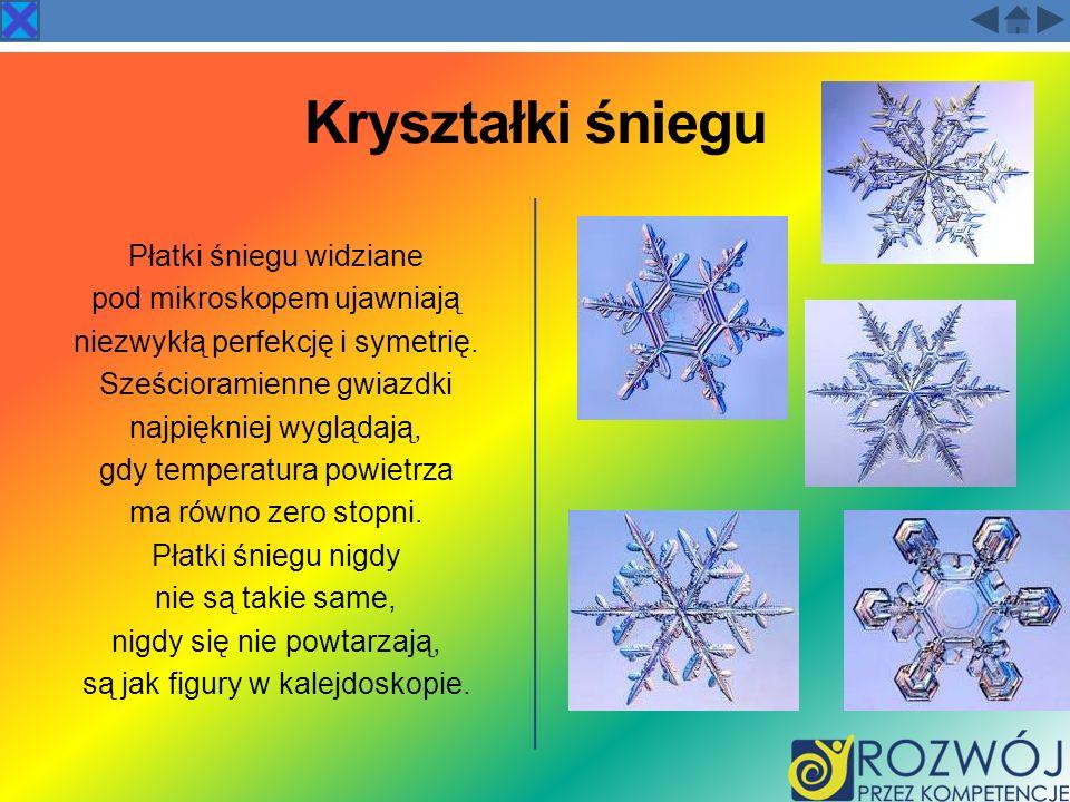 Kryształki śniegu Płatki śniegu widziane pod mikroskopem ujawniają niezwykłą perfekcję i symetrię. Sześcioramienne gwiazdki najpiękniej wyglądają, gdy