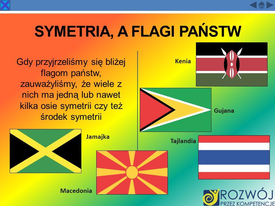 SYMETRIA, A FLAGI PAŃSTW Gdy przyjrzeliśmy się bliżej flagom państw, zauważyliśmy, że wiele z nich ma jedną lub nawet kilka osie symetrii czy też środ