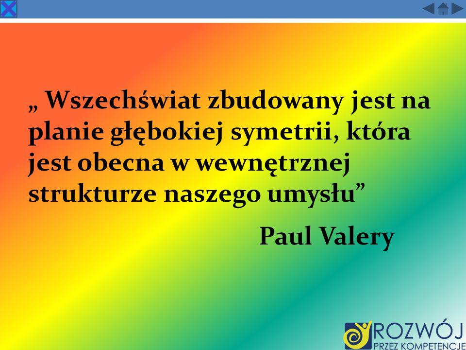 Wszechświat zbudowany jest na planie głębokiej symetrii, która jest obecna w wewnętrznej strukturze naszego umysłu Paul Valery