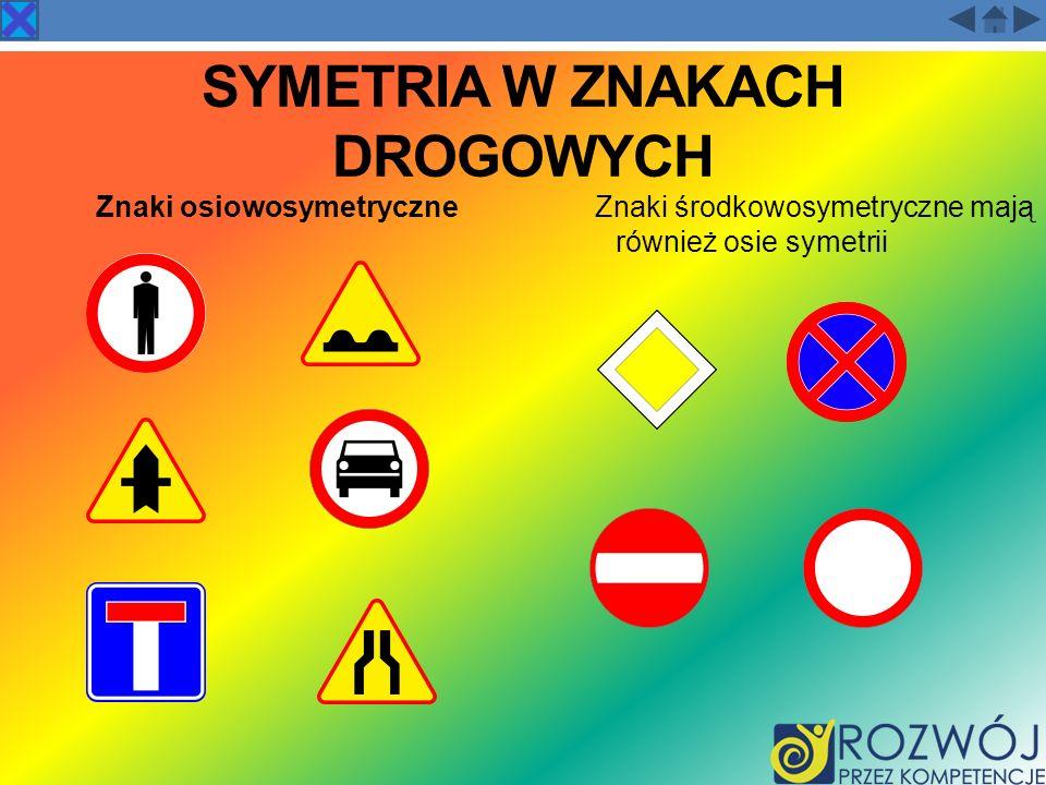 SYMETRIA W ZNAKACH DROGOWYCH Znaki osiowosymetryczneZnaki środkowosymetryczne mają również osie symetrii