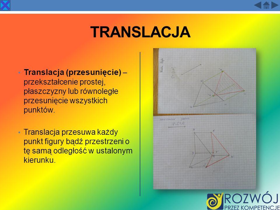 TRANSLACJA Translacja (przesunięcie ) – przekształcenie prostej, płaszczyzny lub równoległe przesunięcie wszystkich punktów. Translacja przesuwa każdy