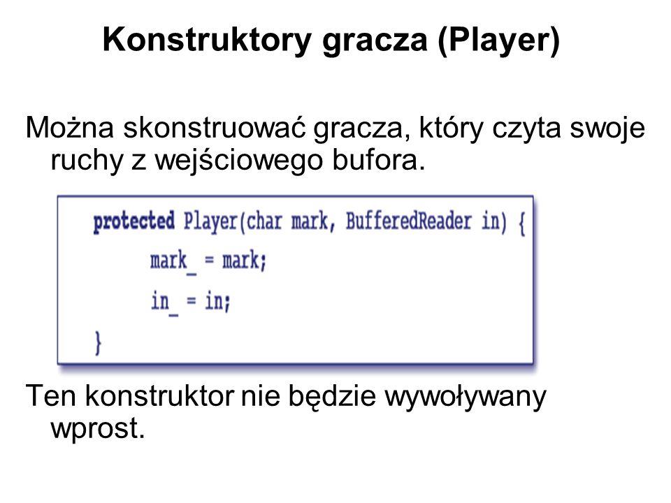 Konstruktory gracza (Player) Można skonstruować gracza, który czyta swoje ruchy z wejściowego bufora.