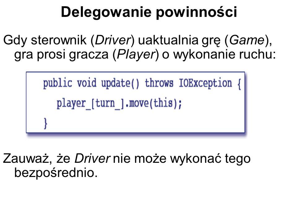 Delegowanie powinności Gdy sterownik (Driver) uaktualnia grę (Game), gra prosi gracza (Player) o wykonanie ruchu: Zauważ, że Driver nie może wykonać tego bezpośrednio.