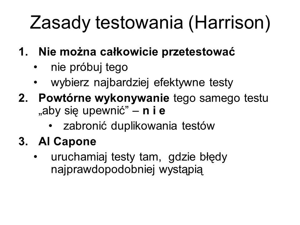 Zasady testowania (Harrison) 1.Nie można całkowicie przetestować nie próbuj tego wybierz najbardziej efektywne testy 2.Powtórne wykonywanie tego samego testu aby się upewnić – n i e zabronić duplikowania testów 3.Al Capone uruchamiaj testy tam, gdzie błędy najprawdopodobniej wystąpią