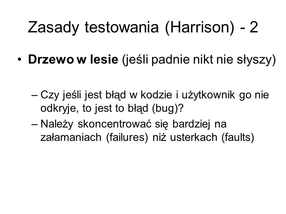 Zasady testowania (Harrison) - 2 Drzewo w lesie (jeśli padnie nikt nie słyszy) –Czy jeśli jest błąd w kodzie i użytkownik go nie odkryje, to jest to błąd (bug).
