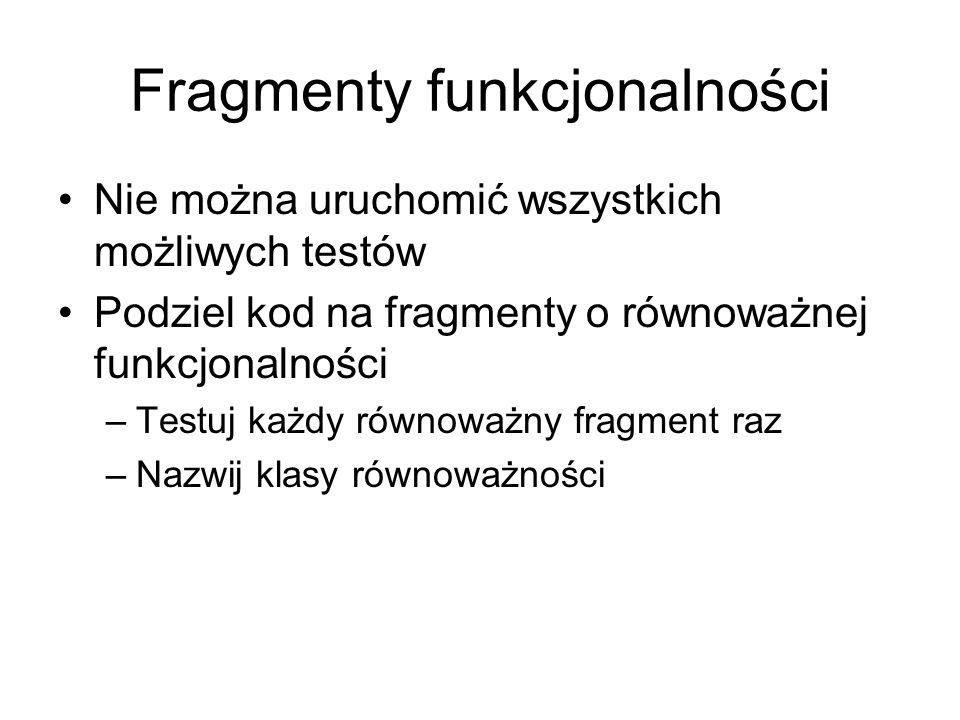 Fragmenty funkcjonalności Nie można uruchomić wszystkich możliwych testów Podziel kod na fragmenty o równoważnej funkcjonalności –Testuj każdy równoważny fragment raz –Nazwij klasy równoważności