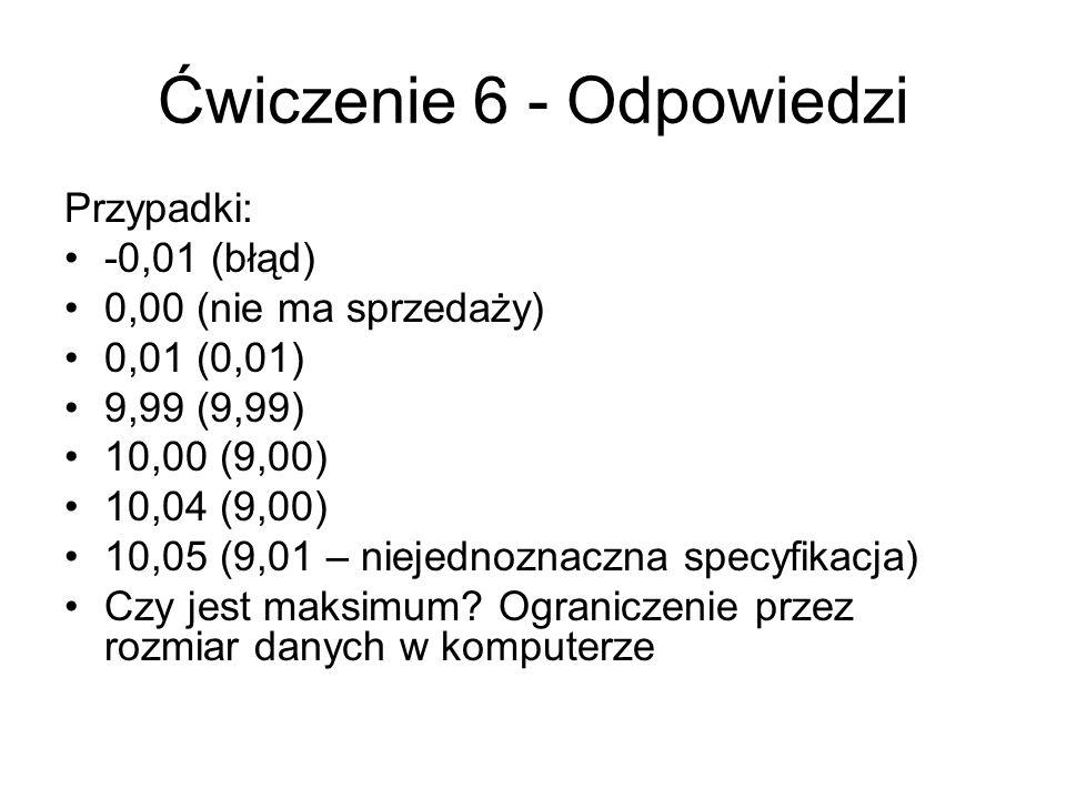 Ćwiczenie 6 - Odpowiedzi Przypadki: -0,01 (błąd) 0,00 (nie ma sprzedaży) 0,01 (0,01) 9,99 (9,99) 10,00 (9,00) 10,04 (9,00) 10,05 (9,01 – niejednoznaczna specyfikacja) Czy jest maksimum.