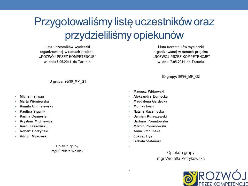 Przygotowaliśmy listę uczestników oraz przydzieliliśmy opiekunów Lista uczestników wycieczki organizowanej w ramach projektu,,ROZWÓJ PRZEZ KOMPETENCJE