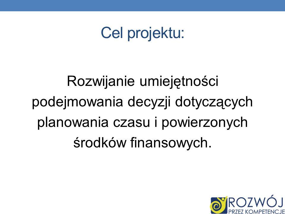 Cel projektu: Rozwijanie umiejętności podejmowania decyzji dotyczących planowania czasu i powierzonych środków finansowych.