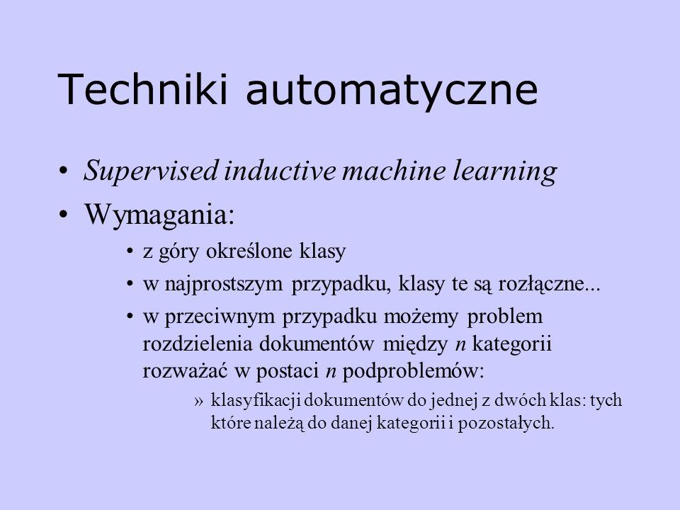 Techniki automatyczne Supervised inductive machine learning Wymagania: z góry określone klasy w najprostszym przypadku, klasy te są rozłączne... w prz