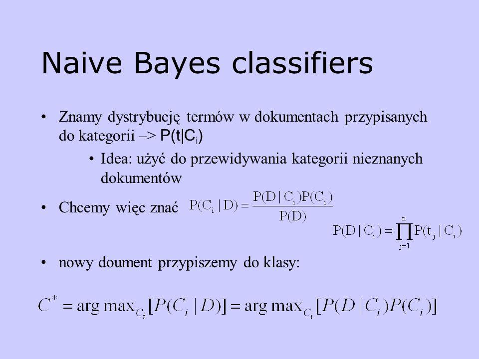 Naive Bayes classifiers Znamy dystrybucję termów w dokumentach przypisanych do kategorii –> P(t|C i ) Idea: użyć do przewidywania kategorii nieznanych