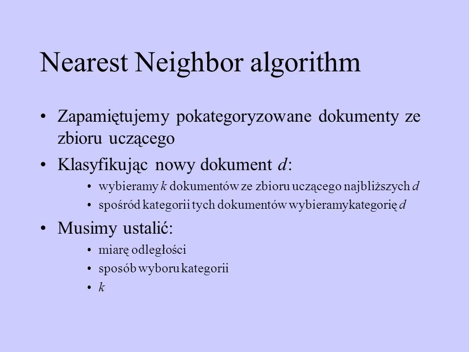 Nearest Neighbor algorithm Zapamiętujemy pokategoryzowane dokumenty ze zbioru uczącego Klasyfikując nowy dokument d: wybieramy k dokumentów ze zbioru