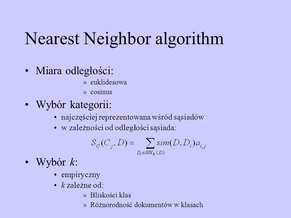 Nearest Neighbor algorithm Miara odległości: »euklidesowa »cosinus Wybór kategorii: najczęściej reprezentowana wśród sąsiadów w zależności od odległoś