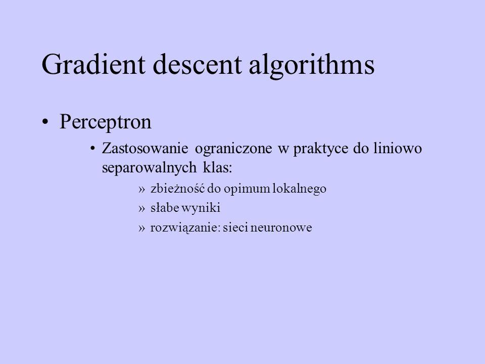 Gradient descent algorithms Perceptron Zastosowanie ograniczone w praktyce do liniowo separowalnych klas: »zbieżność do opimum lokalnego »słabe wyniki