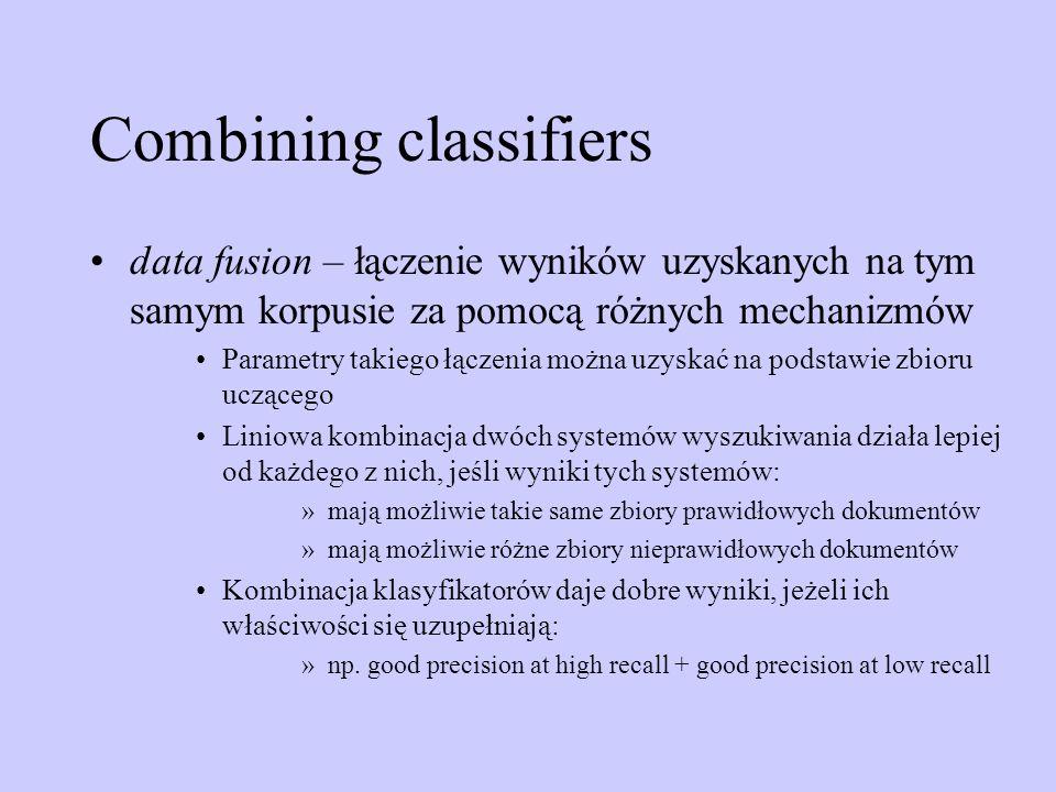 Combining classifiers data fusion – łączenie wyników uzyskanych na tym samym korpusie za pomocą różnych mechanizmów Parametry takiego łączenia można u