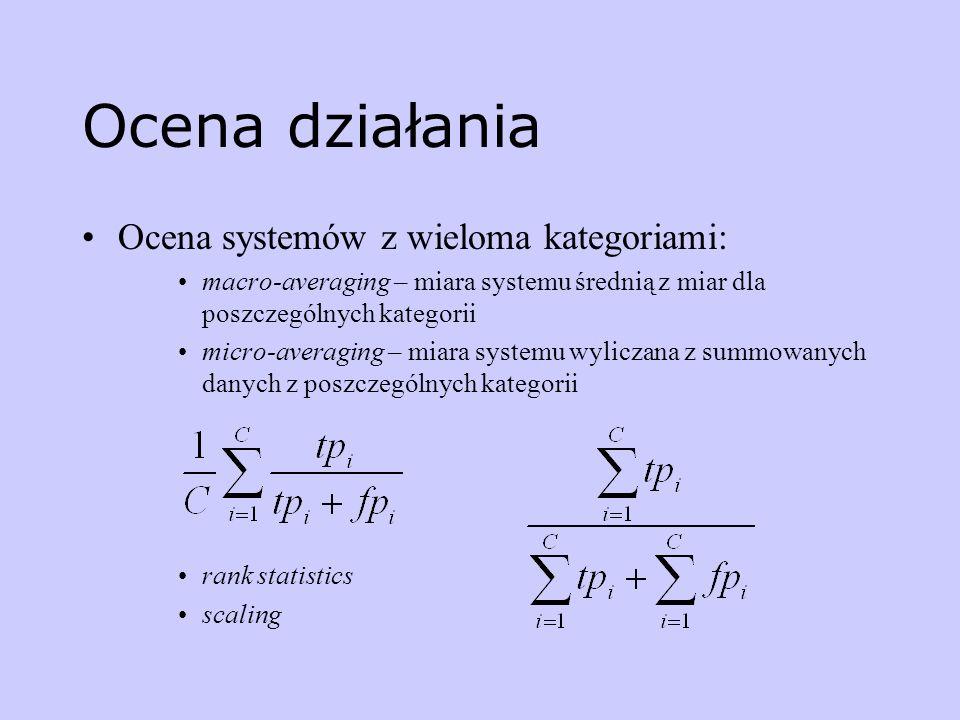 Ocena działania Ocena systemów z wieloma kategoriami: macro-averaging – miara systemu średnią z miar dla poszczególnych kategorii micro-averaging – mi
