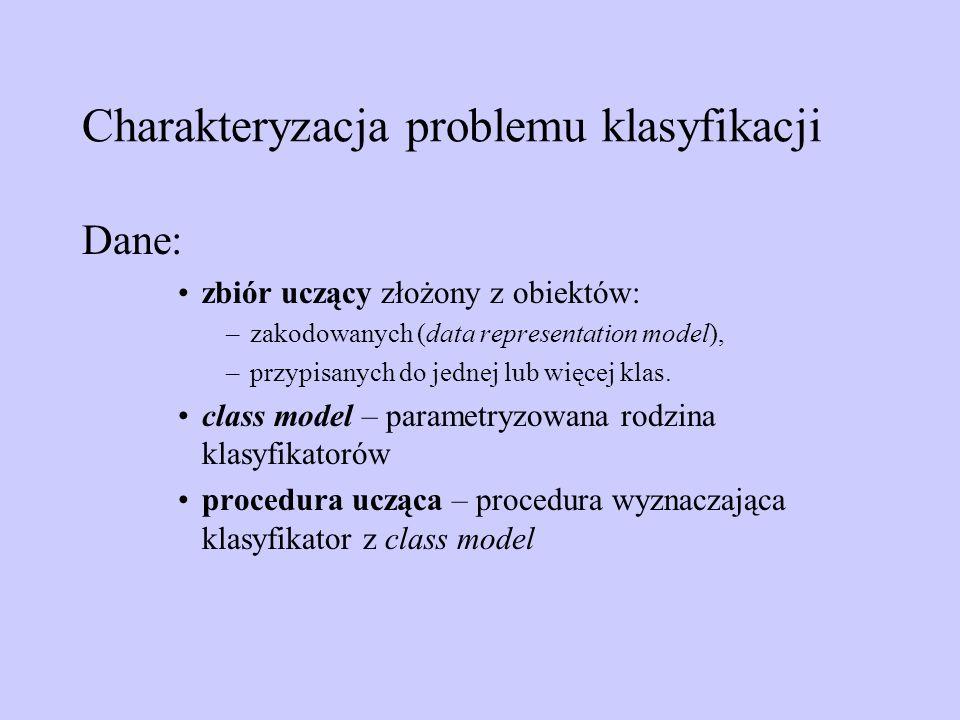 Charakteryzacja problemu klasyfikacji Dane: zbiór uczący złożony z obiektów: –zakodowanych (data representation model), –przypisanych do jednej lub wi