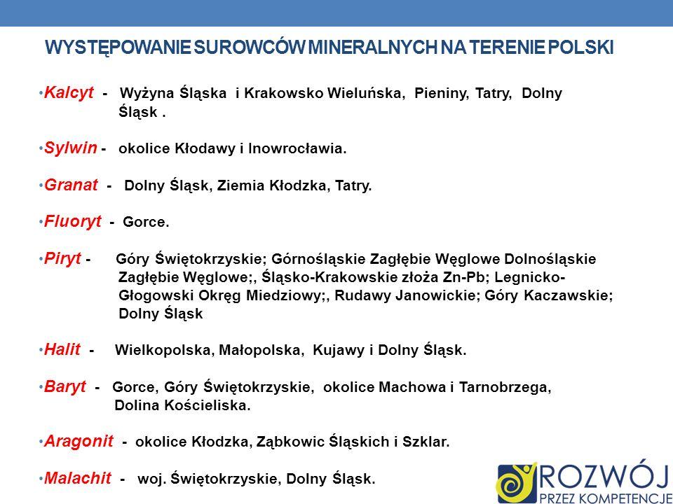 WYSTĘPOWANIE SUROWCÓW MINERALNYCH NA TERENIE POLSKI Kalcyt - Wyżyna Śląska i Krakowsko Wieluńska, Pieniny, Tatry, Dolny Śląsk. Sylwin - okolice Kłodaw