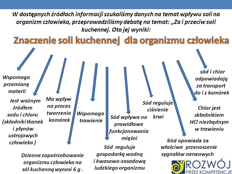 Jest ważnym źródłem sodu i chloru (składniki tkanek i płynów ustrojowych człowieka ) Sód reguluje gospodarkę wodną i kwasowo-zasadową ludzkiego organi