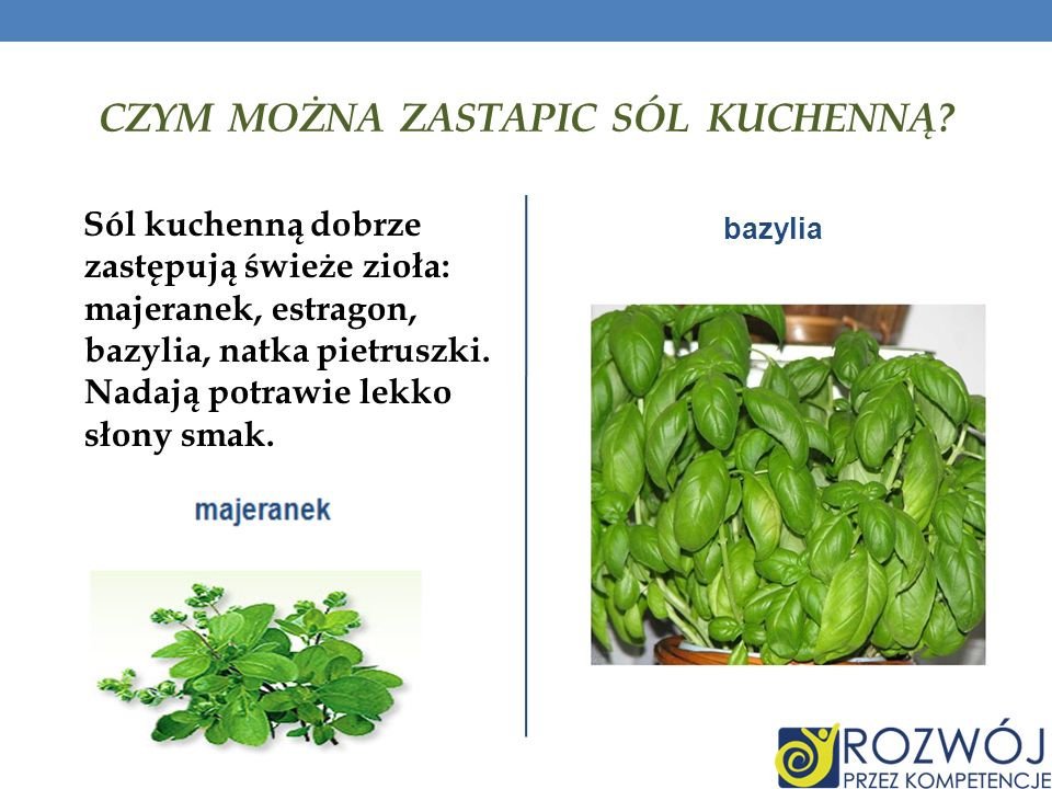 CZYM MOŻNA ZASTAPIC SÓL KUCHENNĄ? Sól kuchenną dobrze zastępują świeże zioła: majeranek, estragon, bazylia, natka pietruszki. Nadają potrawie lekko sł