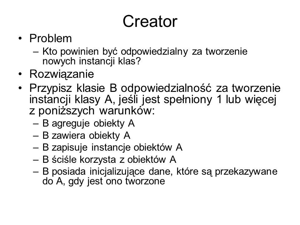 Creator Problem –Kto powinien być odpowiedzialny za tworzenie nowych instancji klas.