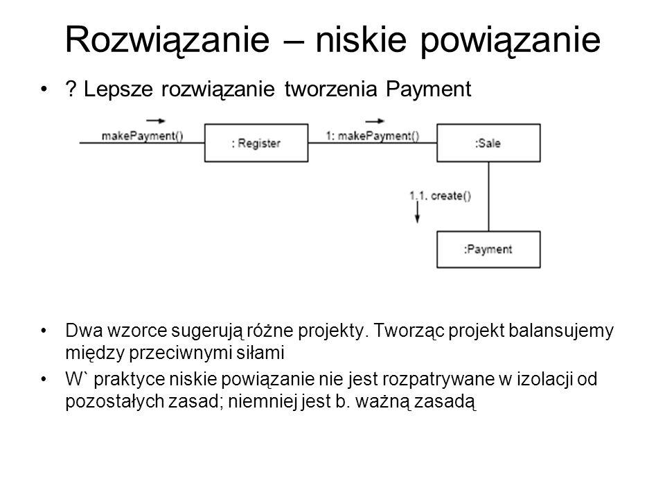 Rozwiązanie – niskie powiązanie ? Lepsze rozwiązanie tworzenia Payment Dwa wzorce sugerują różne projekty. Tworząc projekt balansujemy między przeciwn